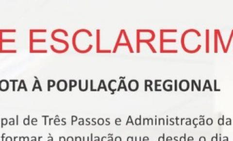 NOTA À POPULAÇÃO REGIONAL SOBRE O SAMU
