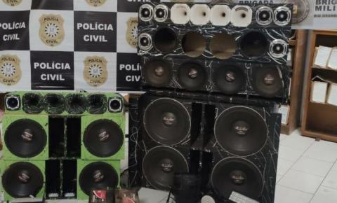 7°BPM em apoio a Polícia Civil efetua apreensões de equipamentos sonoros