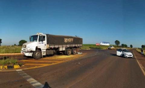 Acidente no entroncamento da BR-468 com a ERS 210 em Campo Novo