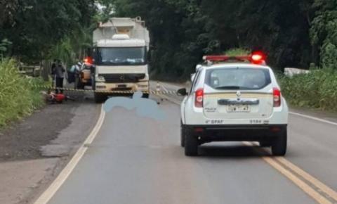 Motociclista morre em colisão  com caminhão na RS-210, em Boa Vista do Buricá