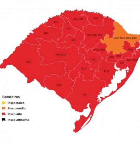 Mapa preliminar fica com 20 regiões em vermelho e apenas uma em laranja na 37ª rodada